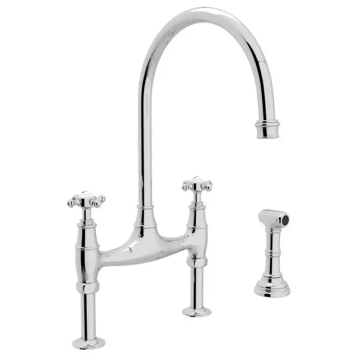 bridge kitchen faucet with sidespray and cross handles