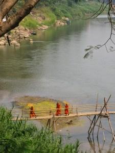 Monks crossing the Nam Khan