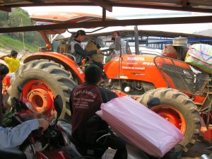 Tractor crossing the Mekong