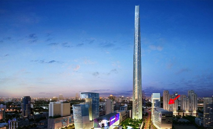 The planned Super Tower in Bangkok - Belle Condominium is arrowed