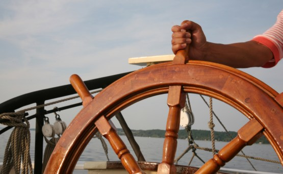 Stay the Course - Boat Wheel