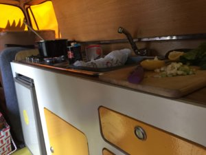 cooking in a VW camper