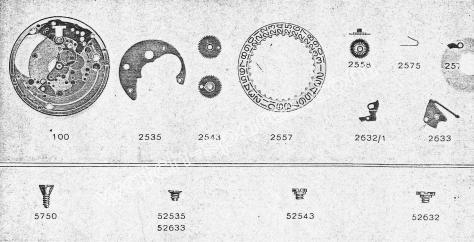 Zodiac 72 watch date parts