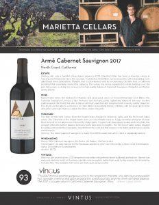 Marietta Cellars Arme Cabernet Sauvignon 2017 Vintus