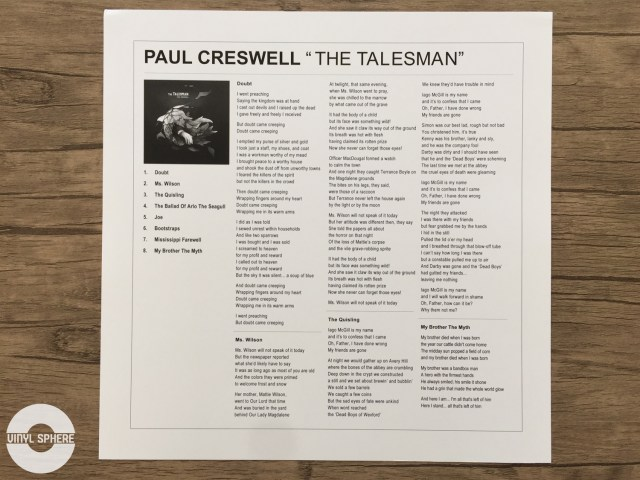 Paul Creswell - The Talesman (lyric insert)