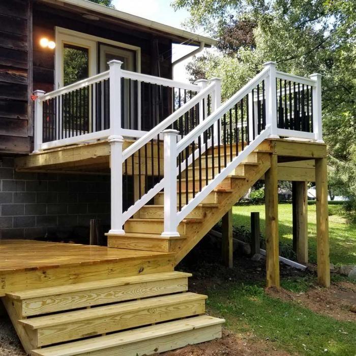 Houston Railing Heavy Duty Railing Stair Railing Deck Railing | Building A Stair Rail | Craftsman Style | White | Horizontal | Glass | Inexpensive
