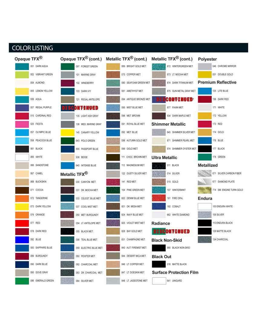 Universal Paint Color Chart