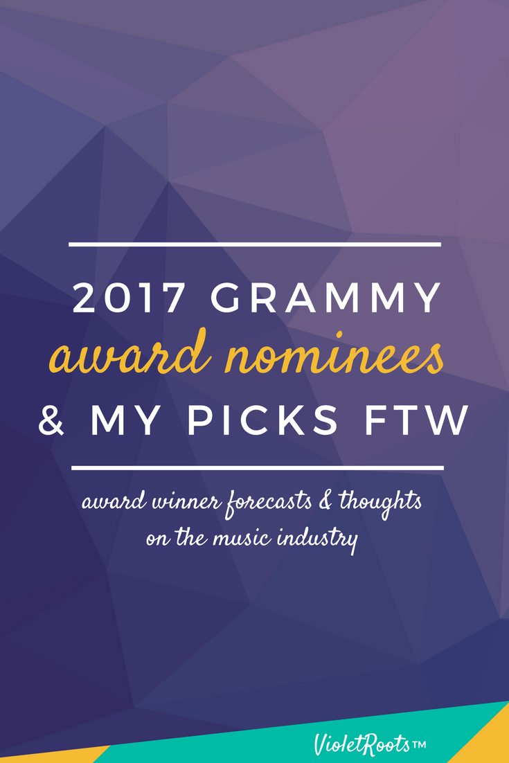 2017 Grammy Nominees + My Picks - Plan on watching the Grammys? Check out my 2017 Grammy nominees list and award winner forecasts for the main categories. Will your fave take home the win?