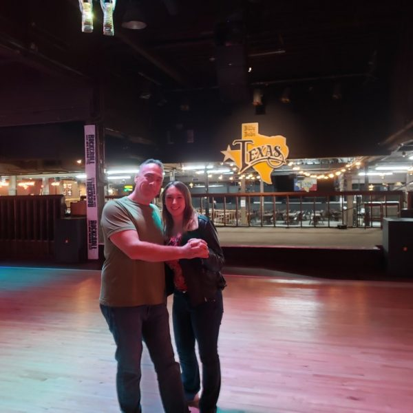 Violet Sky dancing with her father at Billy Bob's Texas, Fort Worth, Texas