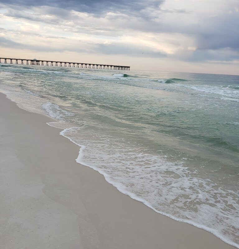 Early morning view of Panama City Beach, Florida looking towards Russell-Fields Pier.
