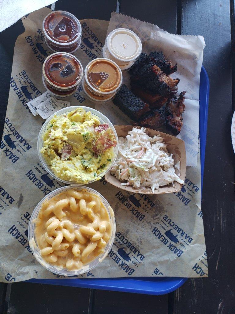 Food at Back Beach Barbecue, Panama City Beach, Florida