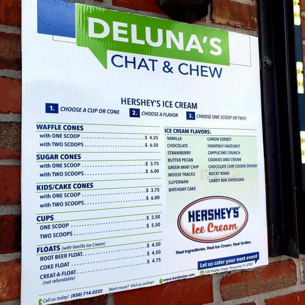 Menu at Deluna's Chat & Chew, Pensacola, Florida
