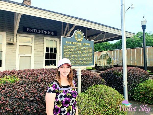 Violet Sky at the Enterprise Train Depot, Enterprise, Alabama (Photo Credit: Violet Sky)