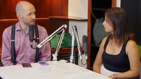 Keleti Arthur és Fazekas Barbara a PosztmodeM műsor közben. Fotó: Nemes Ilona