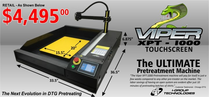 Viper XPT-1000 DTG Touch Screen Pretreatment Application Spec Sheet