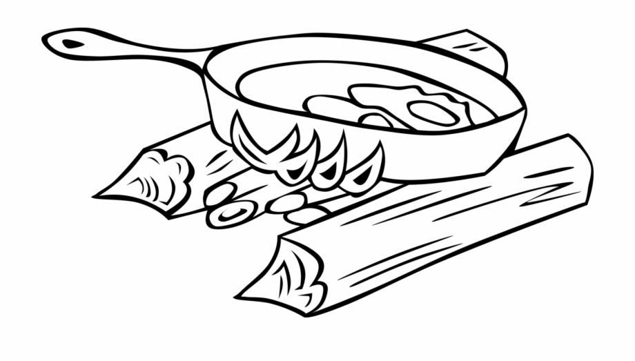 Campfire Clipart Black And White Cooking Food Clipart Black And White Transparent Png Download 1083153 Vippng
