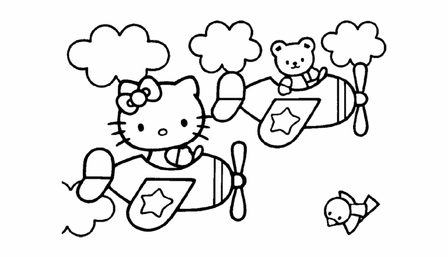 Hello Kitty En Avion Hello Kitty Coloring Pages Easy Transparent Png Download 1601296 Vippng