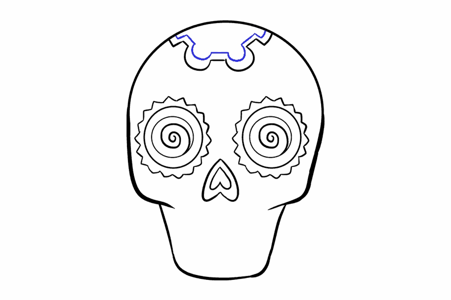 How To Draw A Sugar Skull Step By Step Tutorial Easy Drawing Sugar Skulls Easy Transparent Png Download 2717896 Vippng