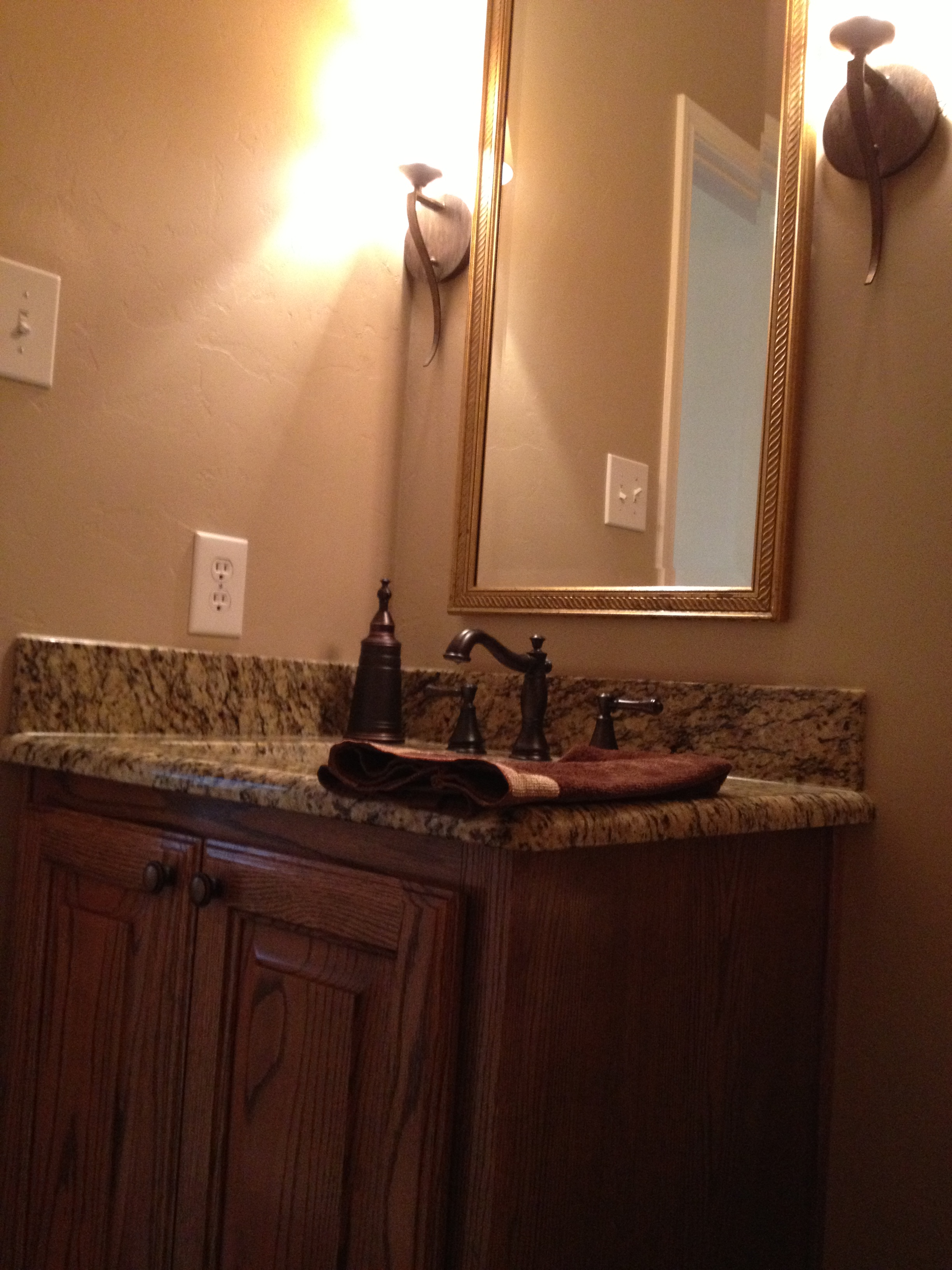 Bath granite and sconces with new cabinets   VIP Services: Painting ...