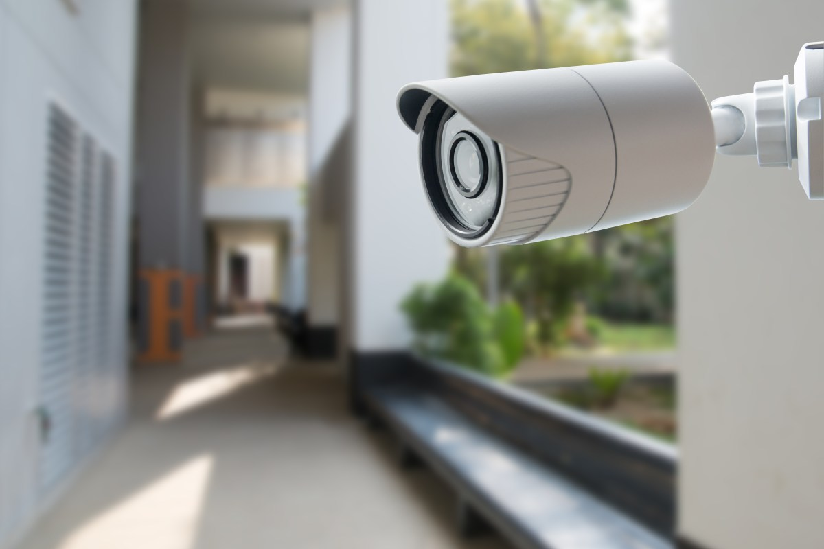 Mounted surveillance camera with blurred background