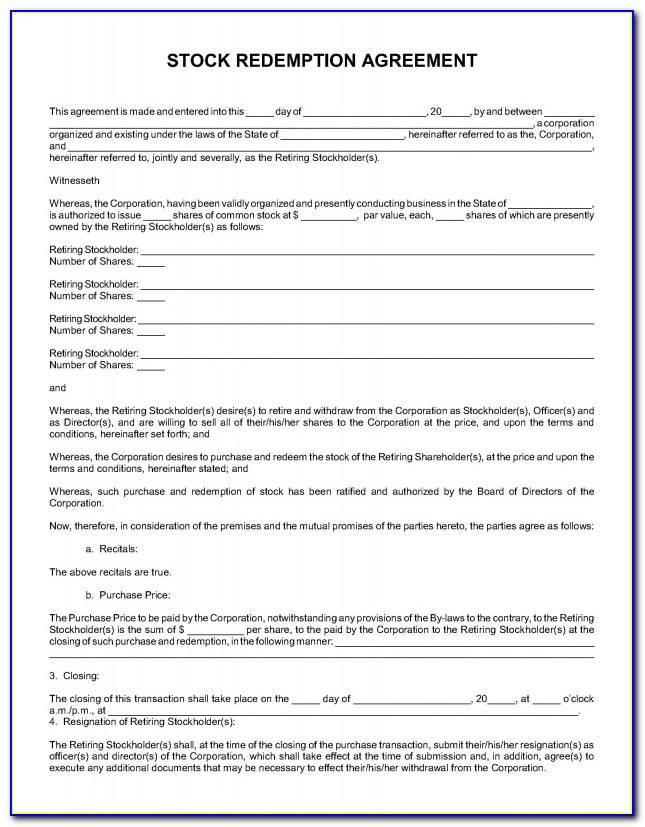 Stock Redemption Agreement Form Form Resume Examples