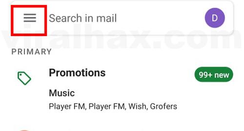 menu aplikasi gmail