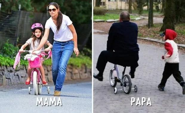 mama-papa-diferencias-divertidas-bici