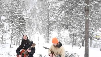 Wolves Join Guitarists Playing In The Woods