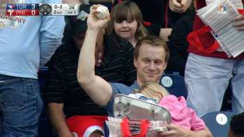 Dad Catches Foul Ball While Holding Sleeping Baby