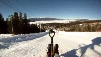 Sledding On A Shovel Down Steep Hill