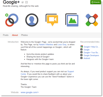 Google+ Pages About Tab