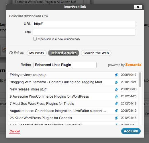 Zemanta Enhanced Links Suggestions