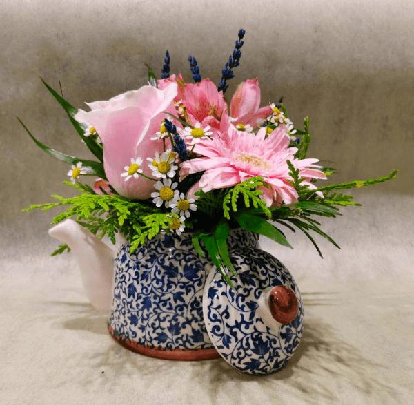 Tetera cerámica azul