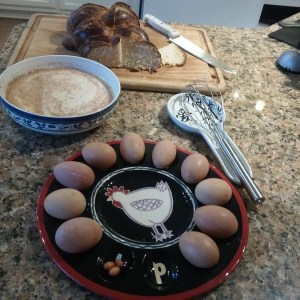 Fresh eggs and leftover Challah bread. There won't be any leftovers after this...