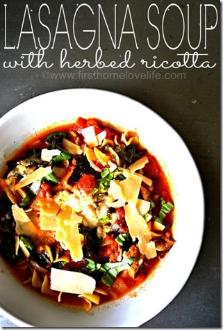 Lasagna Soup with Herbed Ricotta by First Home Love Life