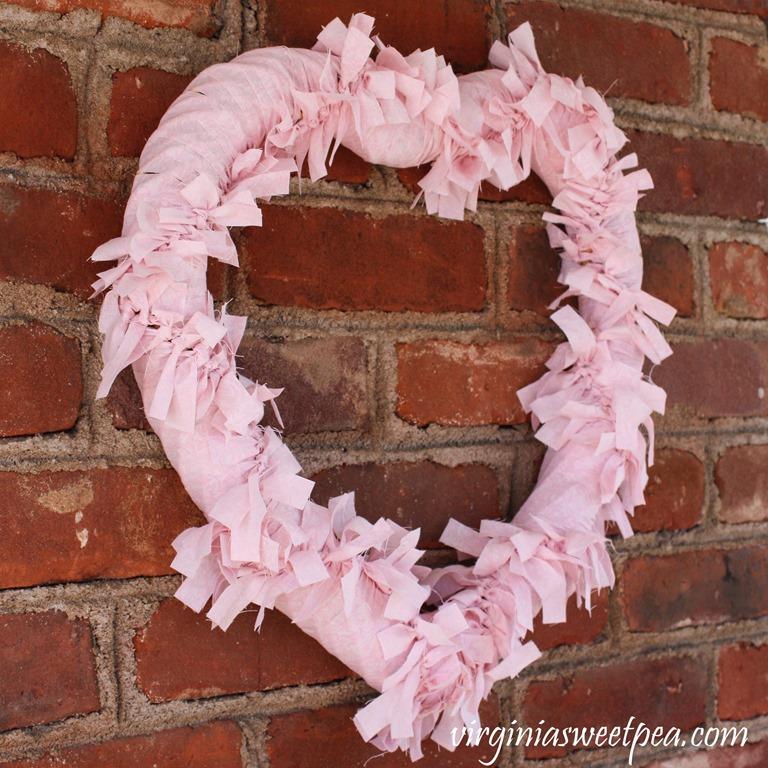 Farmhouse Style Rag Wreath Sweet Pea