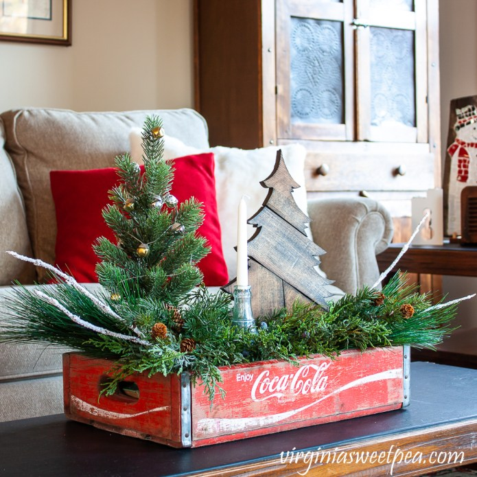 Vintage Coca-Cola crate decorated for Christmas