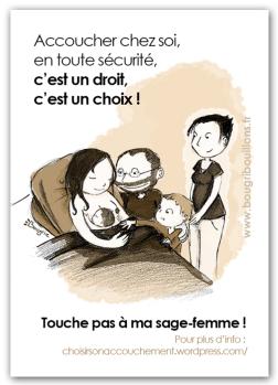 Affiche - Défense des sages-femmes pour l'accouchement à domicile