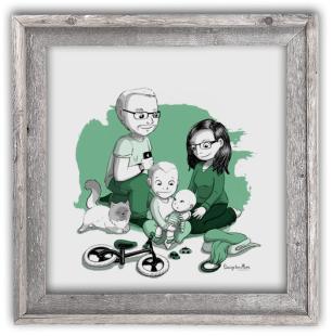 Portrait dessin famille cadre cadeau anniversaire