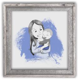 Portrait dessin famille cadre cadeau