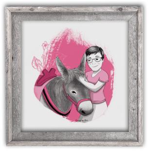 Portrait dessin amie cadre cadeau anniversaire