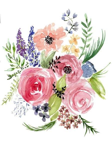 Peinture aquarelle d'un bouquet floral réalisé par l'artiste peintre Virginie Brassart