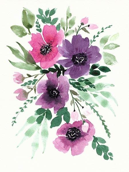Peinture à l'aquarelle d'un bouquet floral réalisé par l'artiste peintre Virginie Brassart