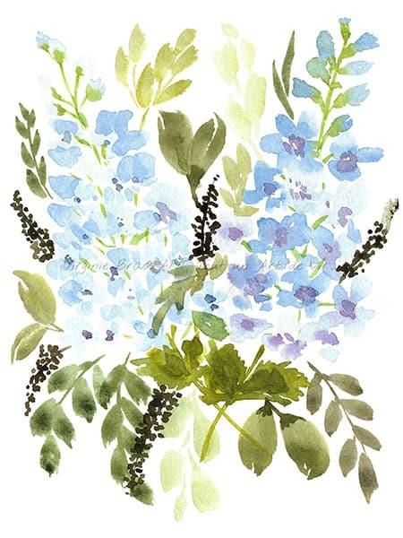 Peinture à l'aquarelle d'un bouquet floral de delphiniums bleus réalisé par l'artiste peintre Virginie Brassart