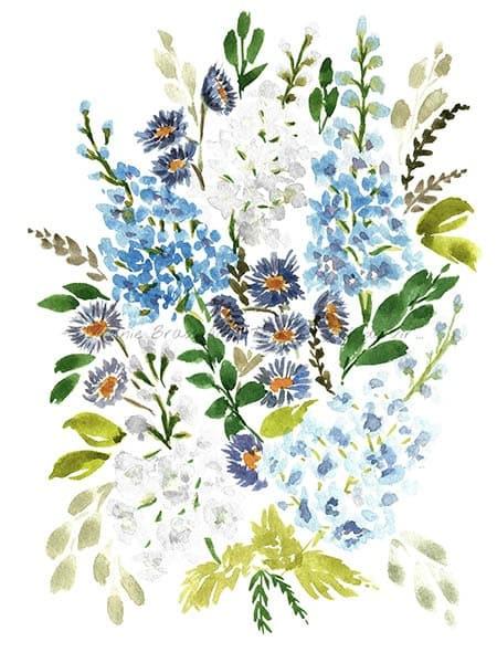 Peinture à l'aquarelle d'un bouquet floral de delphiniums bleus et asters réalisé par l'artiste peintre Virginie Brassart