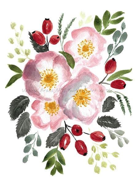 Peinture à l'aquarelle d'un bouquet floral d'églantines et cynorrodonsréalisé par l'artiste peintre Virginie Brassart