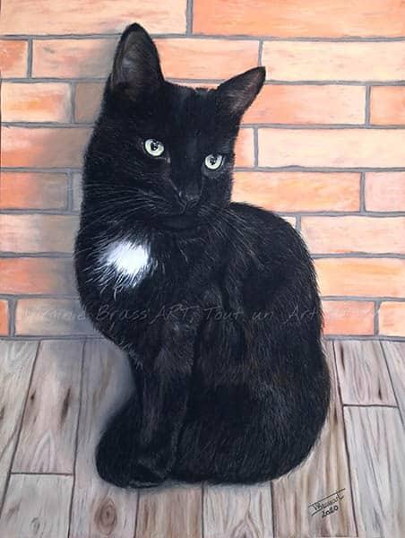 Dessin réaliste aux pastels secs d'un chat noir sur fond mur en briquesréalisé par l'artiste peintre Virginie Brassart