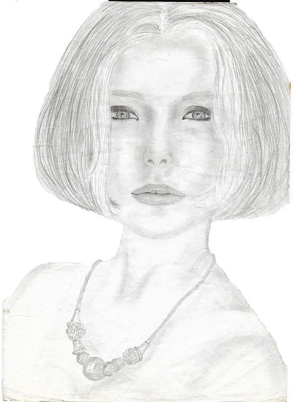 Dessin jeune femme crayons graphites avec un carré court