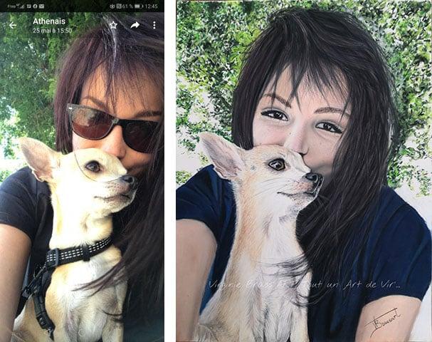 Comparatif entre photo de référence et son dessin aux pastels secs d'un chihuahua et sa maîtresse