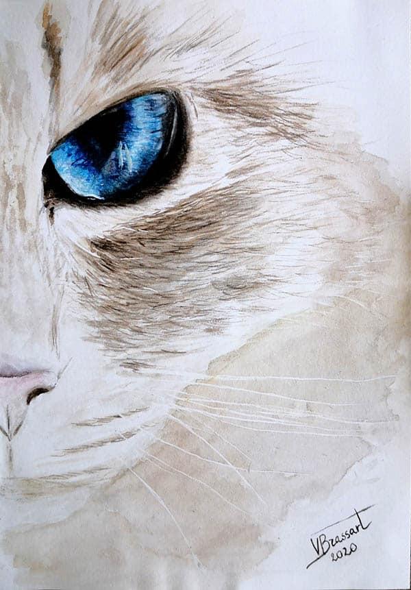 Moitié face d'un chat blanc avec un oeil bleu peint à l'aquarelle